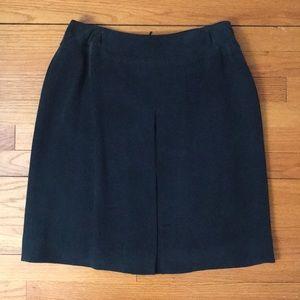 Jones New York Pleated Black 100% Silk Skirt